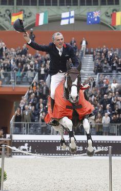 Lap of honour by the winner of the Prix GL events, Michel Robert on Catapulte. Saut Hermès au Grand Palais, Paris 16-18 mars 2012