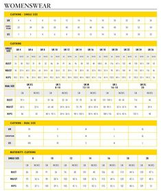 WomenS Sizing Measurement Chart  Standard Sizes  Useful When