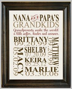 Subway art for the grandparents - all the names and dates in a frame - sweet