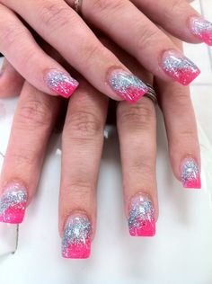 manicure pink silver glitter - Google Search