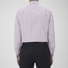 Turnbull & Asser Pink And Blue Triple Check Shirt With Regent Collar Double Cuffs - 18.0