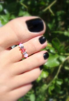 Toe Ring Pink Tourmaline Mix Bead Toe Ring by FancyFeetBoutique, $2.75 Soleless Sandals, Top To Toe, Beaded Jewelry, Unique Jewelry, Pink Ring, Toe Rings, Amethyst Crystal, Pink Tourmaline, Hair And Nails