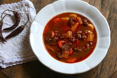 """Hungarian_Goulash  What it is: Known to most as """"goulash,"""" this popular soup is a Hungarian original. It contains chunks of beef, potatoes, and vegetables, plus plenty of paprika and spices.  Why it's awesome: Originally made by cattle herdsman, gulyás is pure comfort food: hearty, homey, and hot."""