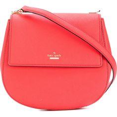 Kate Spade saddle bag ($445) ❤ liked on Polyvore featuring bags, handbags, shoulder bags, kate spade purses, orange shoulder bag, red handbags, red purse and red shoulder bag