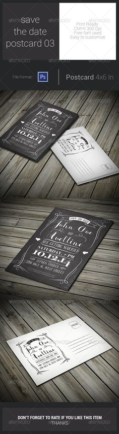 Save The Date Postcard Print Template PSD | More Info: http://graphicriver.net/item/save-the-date-postcard-03/7763510?WT.ac=category_thumb&WT.z_author=arifpoernomo&ref=ksioks