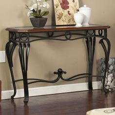 Wildon Home ® Prentice Console Accent Table / TV Stand Dark Cherry Finish Table Style, Decor, Furniture, Table, Glass Decor, Console Table, Glass Top Table, Home Decor, Living Room Furniture
