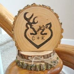 Wedding Cake Topper Rustic Wood Personalized Deer Couple Initials Burned