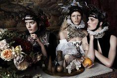 M: Sam Rollinson, Anna Ewers and Ashleigh Good, P: Josh Olins, S: Lucinda Chambers (UK Vogue December 2013) #baroque
