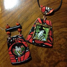 Polymer clay Japanese pendants by Lydia Quayle