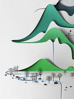 Vertical landscape by Eiko Ojala I like how in this design there are a lot of similar elects that vary just enough to be interesting and still look connected.  The darker, cooler colors that change to brighter colors create a nice flow from top to bottom. The details near the bottom have a nice contrast against the very plain mountains. I like its overall elegant and pretty feel.