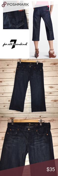 "7 For All Mankind Cropped Dojo Size 27 Size 27  Excellent used condition-worn once   True to size but material has some ""give""  Dark faded wash capri  Dojo is their original trouser style with a cropped leg  Low rise-wide leg 7 For All Mankind Jeans Ankle & Cropped"