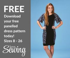 Free panelled dress pattern - The Jeanette dress in sizes 8 - 26
