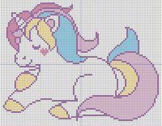 pastel unicorn cross stitch design with grid whole stitches only Kawaii Cross Stitch, Tiny Cross Stitch, Cross Stitch Alphabet, Cross Stitch Boarders, Cross Stitching, Intarsia Patterns, Hand Embroidery Patterns, Modern Cross Stitch Patterns, Cross Stitch Designs