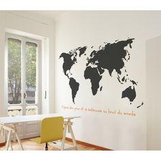 Ebern Designs World Wall Mural World Map Wall Decal, Vinyl Wall Decals, Wall Sticker, Wall Murals, Wall Art Decor, Travel Bedroom, Travel Wall, Do It Yourself Design, Cool Walls