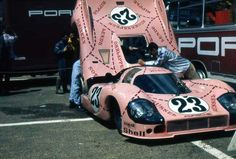 """Porsche 917-20 Sau - Porsche contracted the aerodynamic study of the car to a French engineering company - and they hated the result.  They named the car """"Sau"""" and painted it in pink. The sponsor (Martini & Rossi) asked that its name be removed."""
