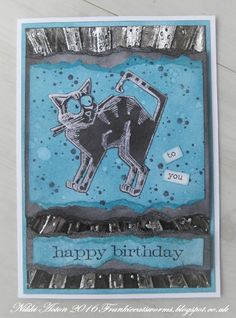 Addicted to Art: Industrial Crazy Cat cards for Tim Holtz 12 tags of 2016; Feb 2016 #timholtz #ranger #timholtzideaology #timholtzsizzix #timholtzstampersanonymous