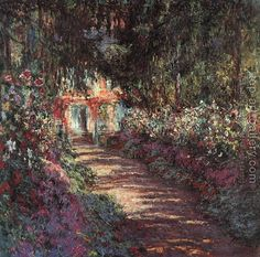 Pathway in Monet's Garden at Giverny by Claude Monet. I will forever love Claude monet. Monet Paintings, Impressionist Paintings, Landscape Paintings, Art Et Architecture, Art Du Monde, Pierre Auguste Renoir, Oil Painting Reproductions, Fine Art, Henri Matisse