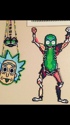 Pickle Rick perler pattern full body Rick Rolling Pixel art Custom design!