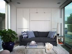 This modern micro home has been created by an American company based in New York that specializes in the design and manufacture of prefab Top Interior Designers, Creative Decor, Luxury Furniture, Space Saving, Room Decor, Tiny Houses, Homes, Mini Case, Dezeen