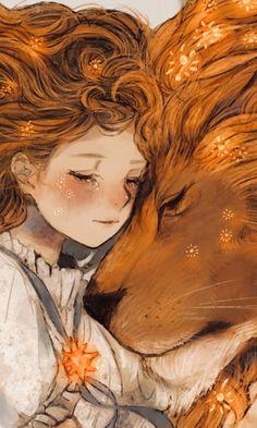 Draw Lions Lion and girl, fantasy, artwork, wallpaper - Art Anime Fille, Anime Art Girl, Manga Art, Fantasy Artwork, Art Prophétique, 480x800 Wallpaper, Lion Drawing, Prophetic Art, Lion Art