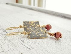 Etched Brass and Gold Earrings Mixed Metal by wwcsilverjewelry, $24.00