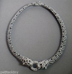 Being called a cougar isn't always a bad thing. CINER Designer Signed Crystal Cougar Collier Necklace Chocker