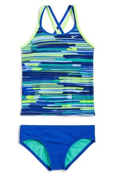 603b60eb156 Girl's Nike 'Frequency' Tankini Two-Piece Swimsuit, Nike Tankini, Tankinis,
