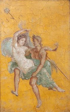 -- Roman Fresco -- Maenad & Satyr -- Circa CE -- Excavated from the 'House Naviglio' at Pompeii Ancient Pompeii, Pompeii And Herculaneum, Ancient Art, Ancient History, Pompeii Italy, Rome Painting, Mural Painting, Roman History, Art History