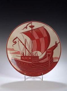 William de Morgan, A circular red lustre plate,