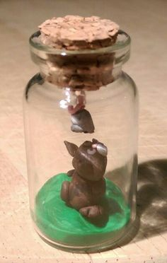 Polymer clay bottle charm, cat and mouse