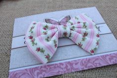 Vintage tiny red rose floral pattern fabric bow.  Medium Fabric Bow.  Valentine's Day bows for girls by FabricBowDepot on Etsy