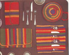 PDF Crochet Pattern  - Dish and Cutlery Holders 201282 Vintage by EunicesTickleTrunk on Etsy