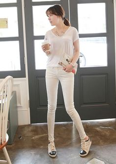 [Miamasvin] Ivory Skinny Jeans