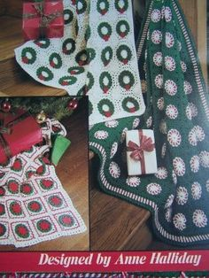 3 Vintage Christmas Crochet Patterns Afghans Peppermint Candy Wreath