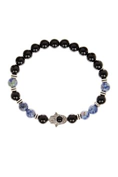 Jean Claude Black Onyx & Blue Agate Hamsa Bead Stretch Bracelet