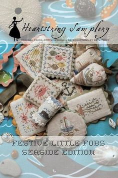 NEW! HEARTSTRING SAMPLERY Seaside Edition Festive Little Fobs counted cross stitch patterns at thecottageneedle.com scissor fobs by thecottageneedle
