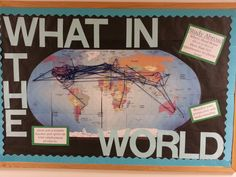 One of my October boards! I had everyone put pins on where they're from and where they've been and connect it with string. Ended up connecting it to study abroad too! #campusresources #communityboard #RA #bulletinboard