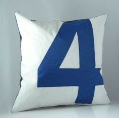 """Recycled Sail Throw Pillow Blue Number 4 15"""" x 15"""" $48- Nautical"""