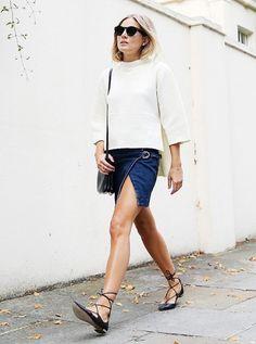 Use saia jeans com flats Mais