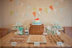 turquoise and orange whale themed baby shower