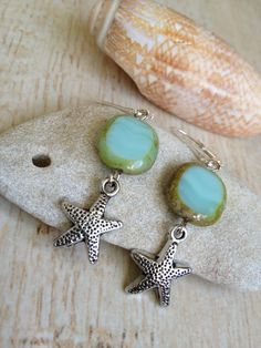 Starfish Earrings with Blue and Green Glass by BeachDaisyJewelry, $9.00