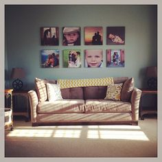 #photocollage #picturecollage #livingroom My formal living room picture project = complete! Can't wait to finish decorating! KT Rae Photography- Cleveland Ohio