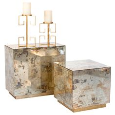Cubo Reverse Mirror Cocktail Cube (right) and Side Table (left).