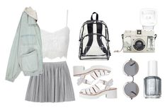 """""""I think you're beautiful"""" by v4ndaleyes ❤ liked on Polyvore featuring Alice In The Eve, Monki, Lily White, The Row, Essie and Lomography"""