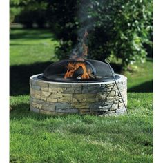 Living Accents® Stacked Stone Fire Pit   Outdoor Fireplaces   Ace Hardware  Stacked Stone Round Base Porcelain Baked Steel Fire Bowl Dome Shaped  Protection ...