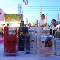 Counterfeited perfume in the night market of Tainan