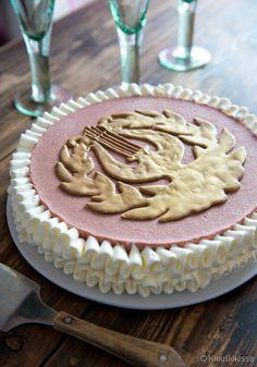Lyyrakakku smoothie-täytteellä Yams, Yummy Cakes, Stevia, Cake Decorating, Decorating Ideas, Party Time, Waffles, Buffet, Pie