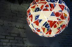 Pendant light, by Andrew Thomson, made from a recycled political sign.