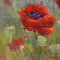 Red POPPIES Original Pastel Painting 8x8 by KarenMargulisFineArt
