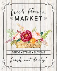 Free Printable Farmhouse Fresh Flower Market Wall Art /// 4 Different Versions!!! - The Cottage Market